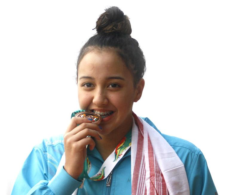 Gaurika Singh holds bronze medal in 12th South Asian Games on Monday, February 8, 2016. Photos Courtesy: NSJF / PJ Club / NSC