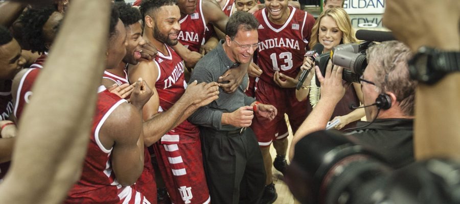 Chris Howell | Herald-Times The team surrounds their head coach, Tom Crean, as he is being interviewed after the State Farm Armed Forces Classic at the Stan Sheriff Center in Honolulu, HI. Saturday, Nov. 12, 2016.