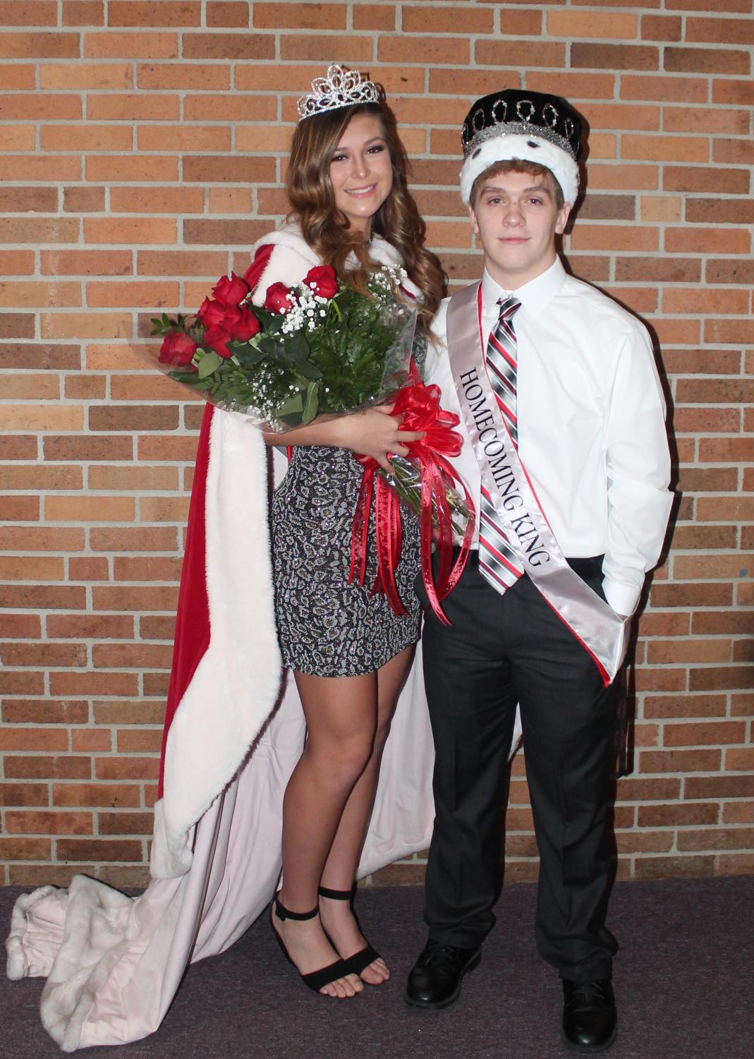 Basketball homecoming queen Hannah Imel and king Gabe Bennett