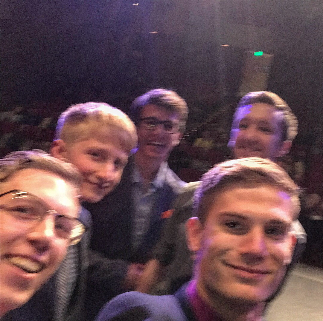 From left: Benjamin Hardin, Clate Winters, Andrew Holcroft, Jacob Nichols, and Brandon Stewart took a selfie during the 107th annual Custer Contest