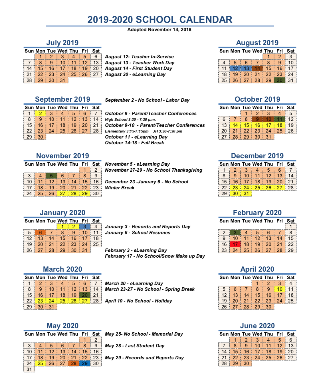 The revised 2019-2020 MCHS school calendar.