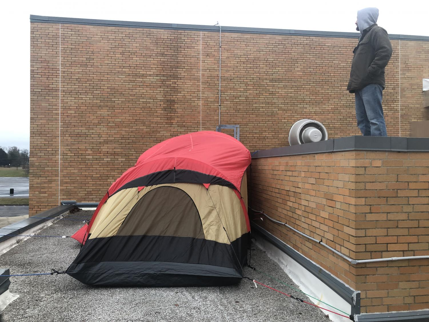 The tent used for the overnight rooftop stay of Mr. Gasaway and Mr. Grill for the shoes for Africa charity donation competition.