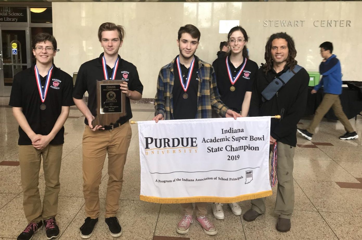 Members of the state champion academic Super Bowl team from left: Jalen Wilson, Haniah Kring, Ezra Young, Lydia Goebel, and Coach Emeka Koren