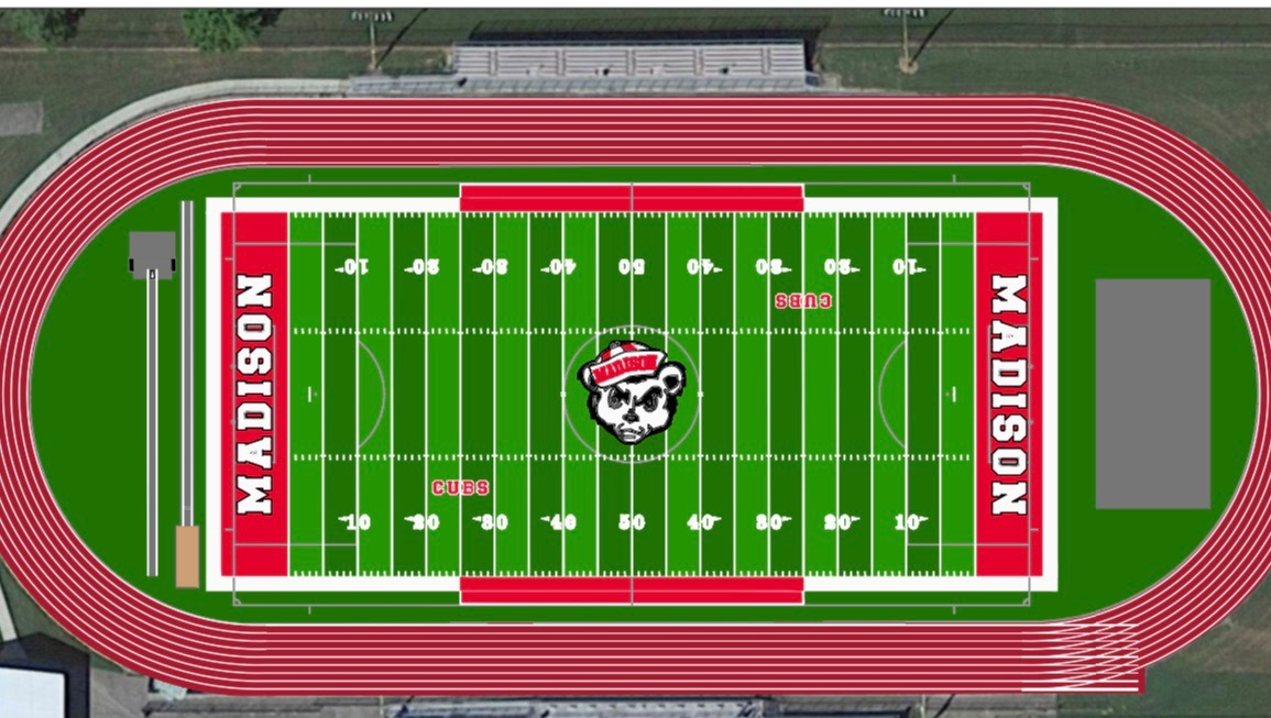 A projected mock up of the new track and field and football projects.