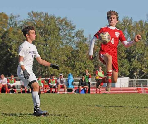 Cubs senior, Will Heitz makes a dazzling play in a soccer match last year.