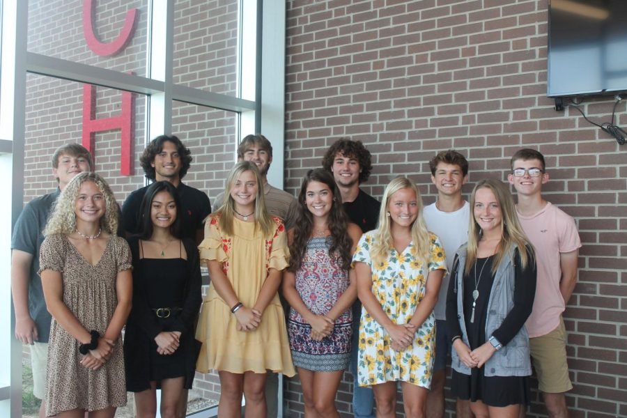 MCHS fall '20 Homecoming Candidates Front Row (from left): Jordyn Bilz, Vy Huynh, Alivia Brawner, Michaela Payne, Olivia Spencer, Clara McCulley Back Row (From left): Mitchell Liter, Nick Center, Parker Jones, Trenton Barnes, Will Heitz, Carson Roark