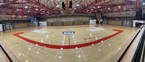 The newly renovated floor at Connor K. Salm Gymnasium