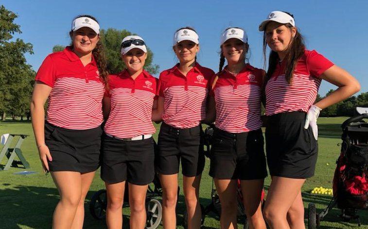 From Left: freshman Lilly Fox, senior Keara Eder, junior Grace Bronkella, sophomore Grace Gasaway, and junior Reagan Warren